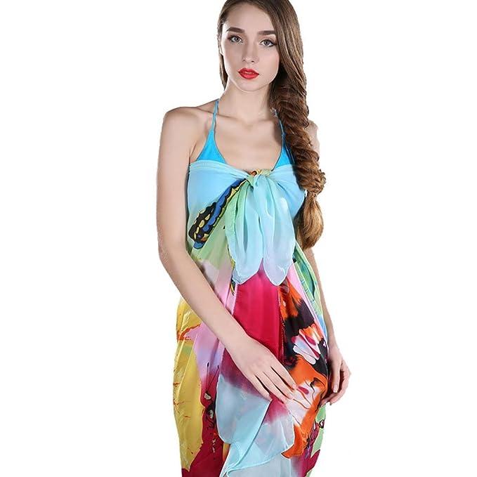 34bf7c5812f93 Imported Women Chiffon Pareo Wrap Dress Beach Bikini Swimwear Cover Up  Scarf Green: Amazon.in: Clothing & Accessories