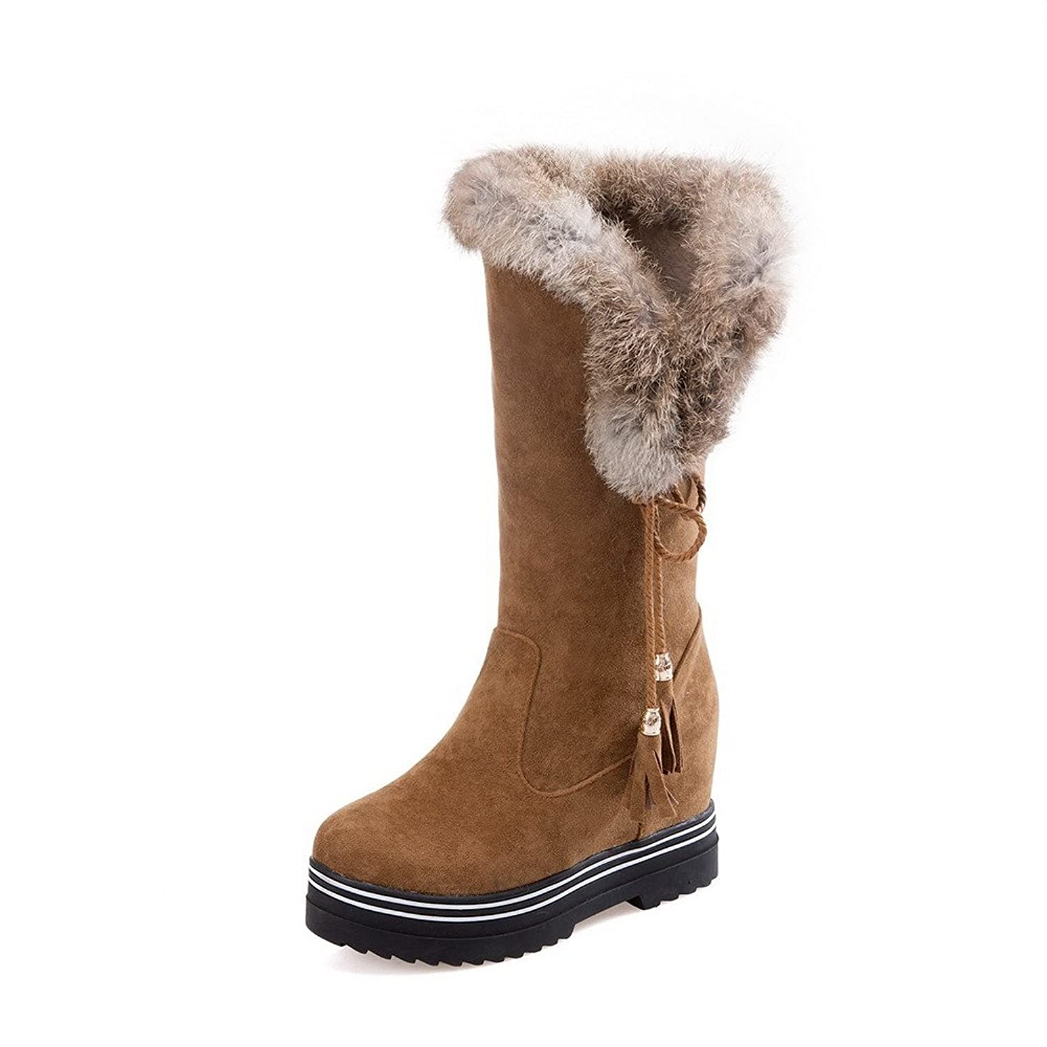 AllhqFashion Women's Mid-Top Pull-On Frosted High-Heels Round Closed Toe Boots