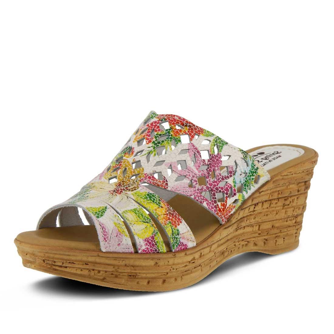 Spring Step Women/'s Viniko Slide Sandal White Multi