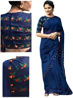 Sarees (RV Creation for Women Party Wear offer Sarees New Collection Today Low Price Sarees in Blue Georgette Material Latest Saree With Blouse Free Size Beautiful Sarees With Embroidered Blouse