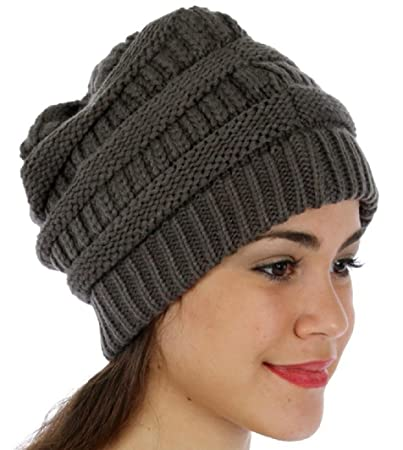 Amazon.com  Soft Slouchy Hat Extra Long Cable Knit Beanie Cap (Dark ... 0735d9aa06a