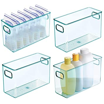 Nappies and More /— Clear//Sea Blue mDesign Set of 4 Nursery Storage Box /— Baby Organiser Box with Lid and Handles /— Storage Container for Clothes