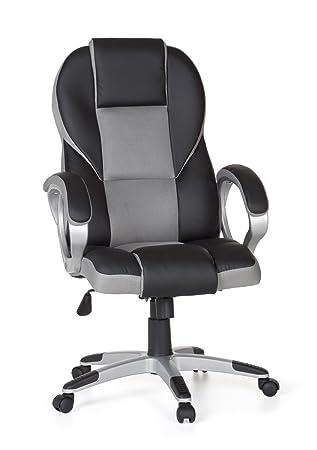 Schreibtischstuhl modern grau  Amstyle Bürostuhl RACE Grau Gaming Chefsessel mit Armlehne Racer ...