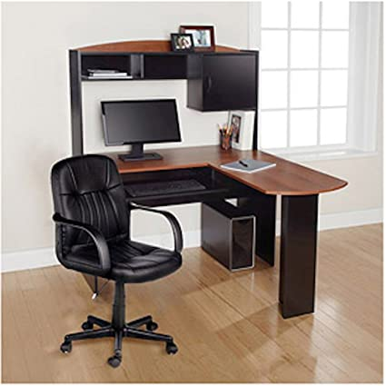 Charmant Modern L Shaped Office Computer Workstation Organizer Corner Desk With  Hutch And Leather Back Support