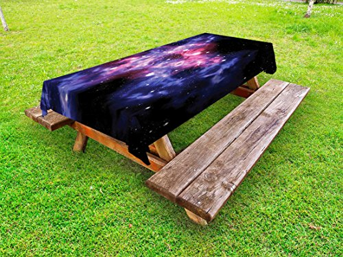Lunarable Outer Space Outdoor Tablecloth, Dusty Gas Cloud Nebula and Star Clusters in The Outer Space Cosmos Solar Print, Decorative Washable Picnic Table Cloth, 58 X 84 inches, Navy Purple by Lunarable