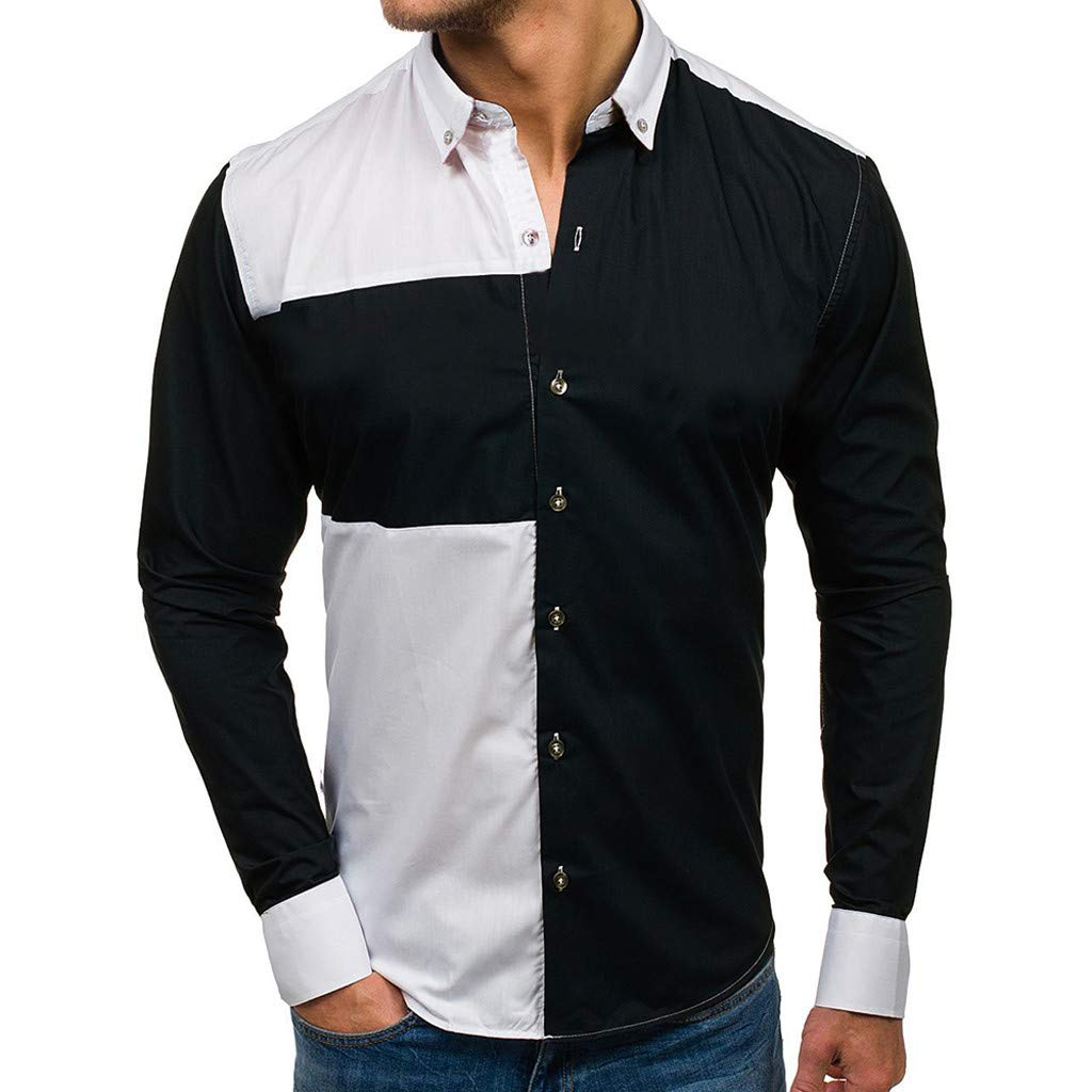 Teresamoon Men/'s Casual Work Shirt Long Sleeve Patchwork Button Large Size Blouse
