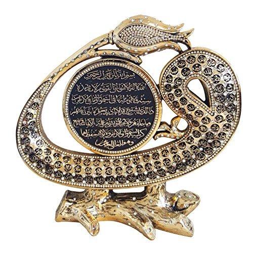 Asma ul husna 99 Names of Allah name and Ayatul Kursi Large Size Islamic Art Sculpture Table Decor (Gold Tone) by Yagmurcan