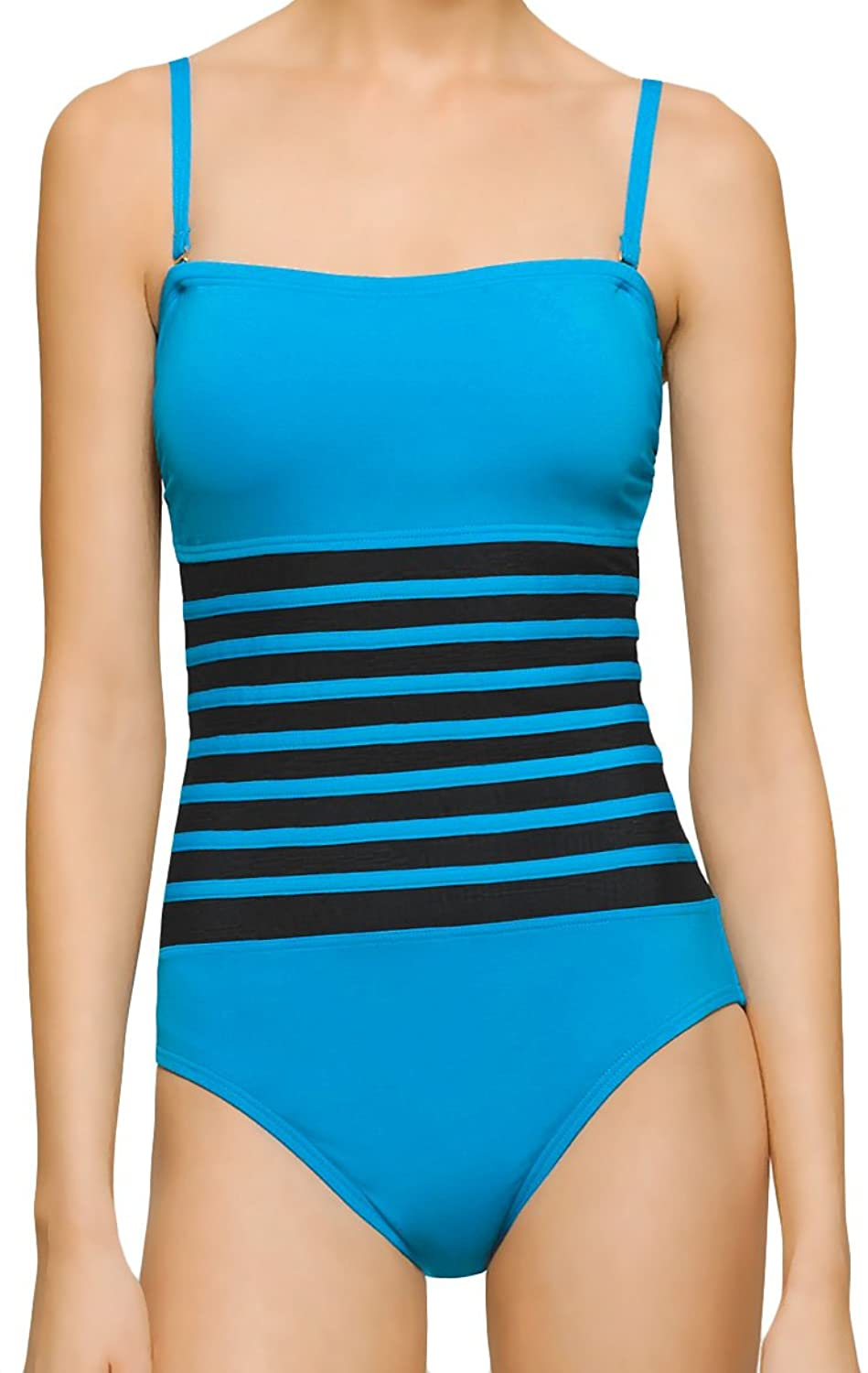 de4e7f6a42c0e One Piece Bathing Suit with Strapless Style Neckline Comes with with 2  Detachable Adjustable Length Shoulder Straps Sheer Mesh Black Banded Design  Across ...