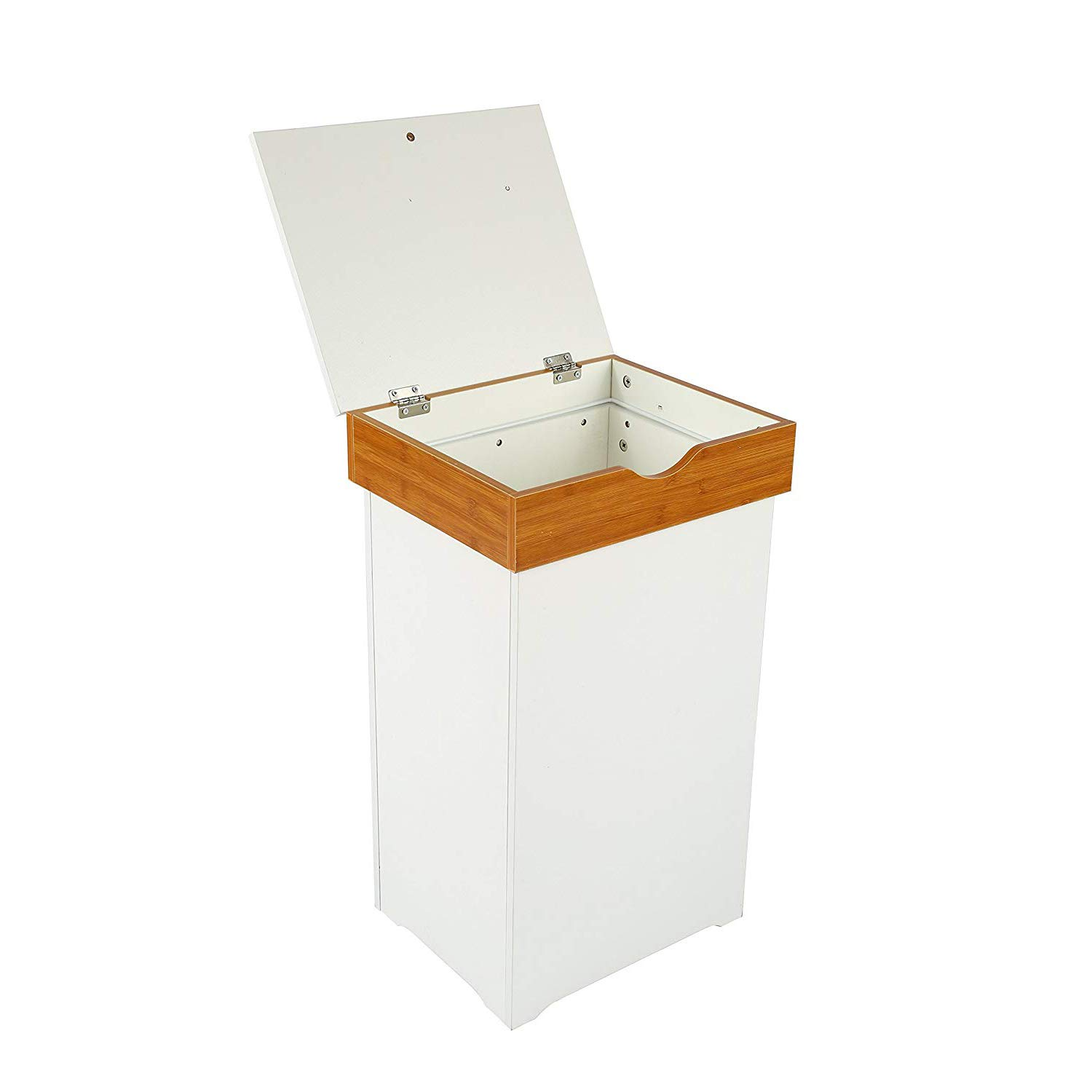 """MULSH Trash Can Gabage Bins Waste Container 13 Gallons Rececling Dustbin Litter Bin Cabinet Wooden Kitchen Wastebaskets Space Saver with Lid in White,16""""Wx13""""Dx26.5""""H"""