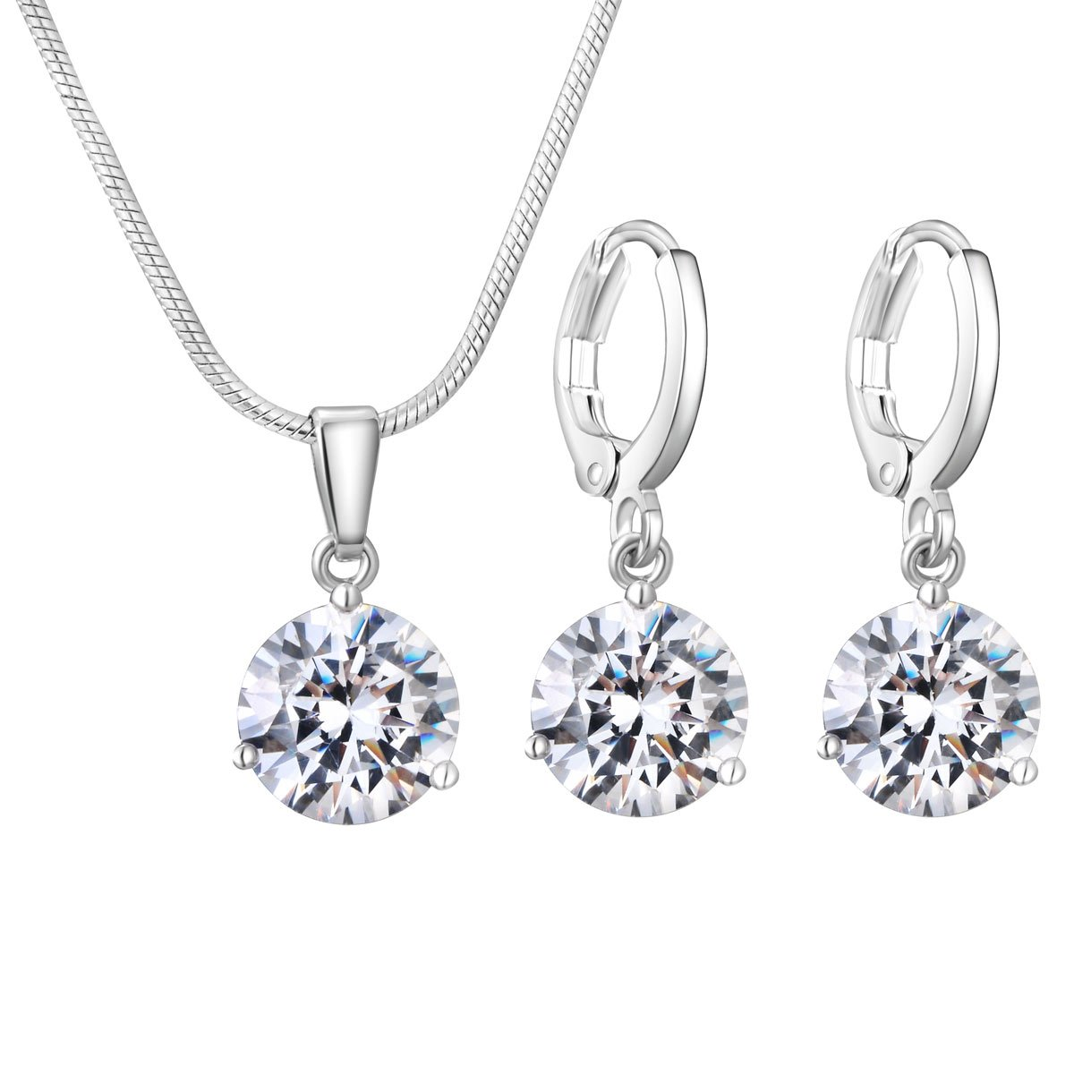 CARSINEL White Gold Plated Jewelry Sets Solitaire Cubic Zirconia Pendant Necklace & Earrings for Women Gifts