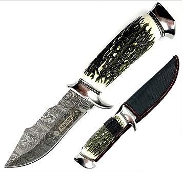 MT KANDAR 179 Damascus • Cuchillo DE Hoja Fija para Caza ...