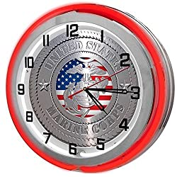 United States Marine Corp Red 18 Double Neon Garage Clock from Redeye Laserworks