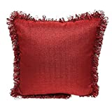 Popular Bath Brayden Fringe Trimming Decorative Single Pillow, Beautiful Vivid Colors, Add Grace And Style, 18x18 Inches (Burgundy)
