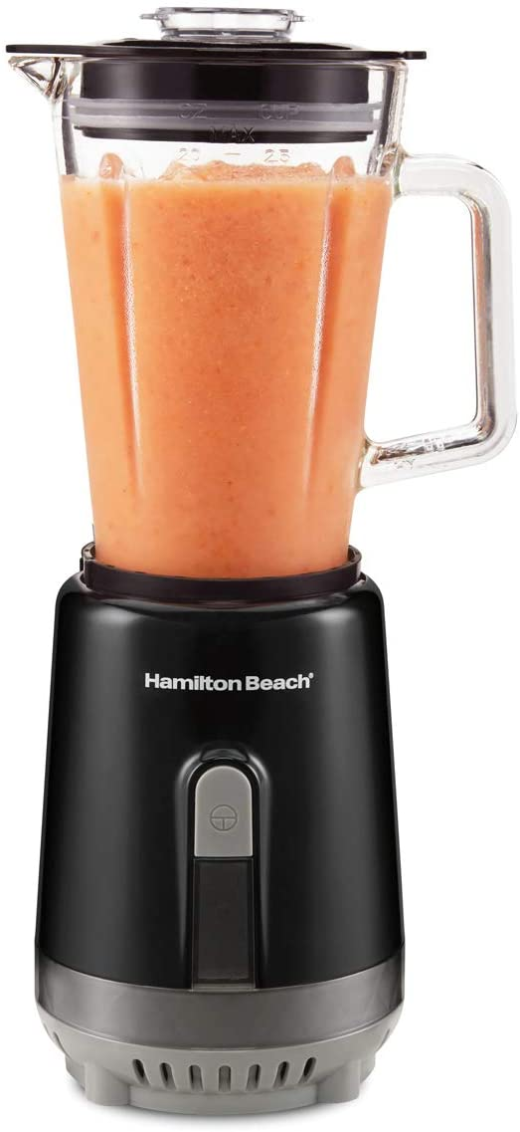 Hamilton Beach Personal Blender for Shakes and Smoothies, 600 Watts, 20oz Single Serve Glass Jar, Black (51157)