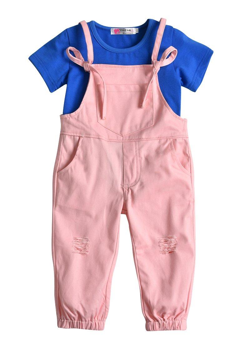 Kids Little Girls Strap Ripped Pocket Harem Jumpsuit Tshirt Overalls Outfit Set