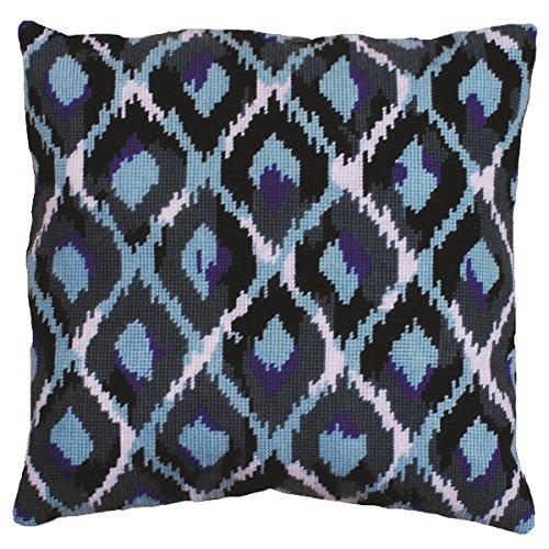 Tobin Needlepoint Kit Stitched in Yarn, 12 by 12-Inch, Blue Ikat ()
