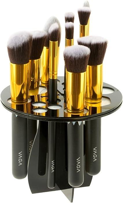 VAGA 1 Organizador de brochas de maquillaje profesional negro para guardar pínceles, makeup, set de brochas de maquillaje, makeup organizer, estuche para guardar pintalabios y esmaltes de uñas: Amazon.es: Belleza