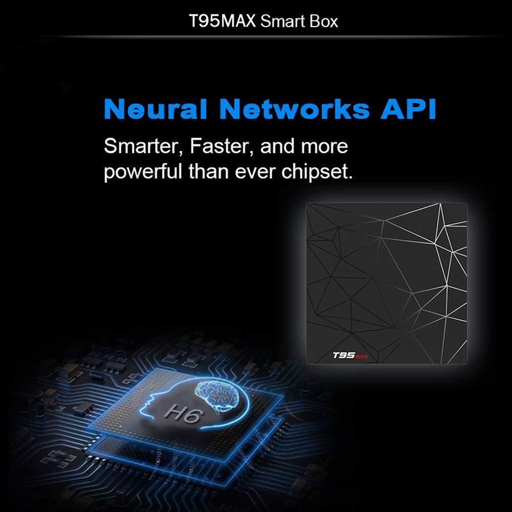 Android 9.0 TV Box T95 Max Smart TV Box with 4GB RAM 64GB ROM Allwinner H6 Quad-Core Cortex-A53 2.4GHz WiFi Supports 6K 4K 2K H.265 Output 100M LAN Enternet USB 3.0 Smart Set Top Box