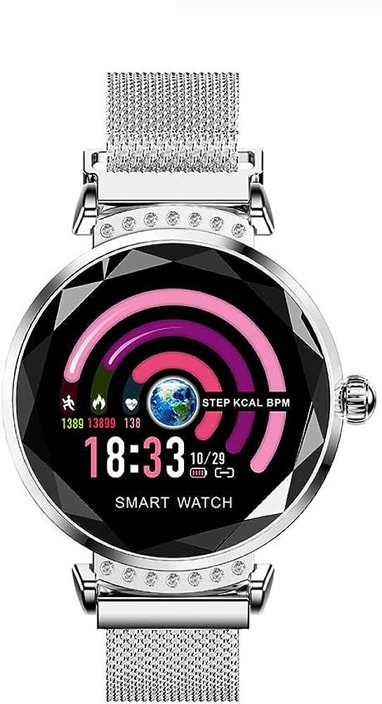 Reloj Inteligente, Impermeable IP68, Apto para Mujeres, Equipado con Monitor de frecuencia cardíaca, Monitor de sueño, podómetro, calorías para iOS y Android