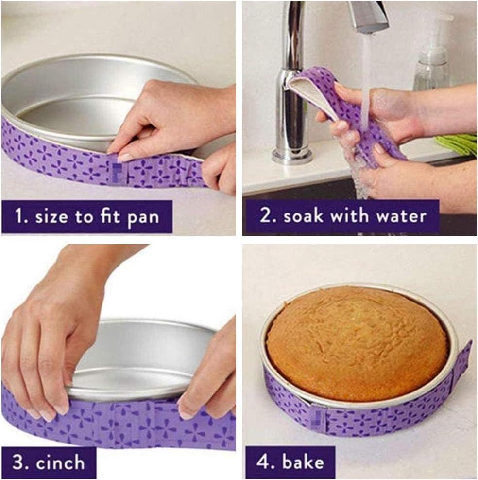 Absorbent Thick Cotton Cake Strips for Baking Baking Tin Wraps Bake Even Strip Set Cake Pan Strips Baking Tool metagio 3 Pack Cake Strips