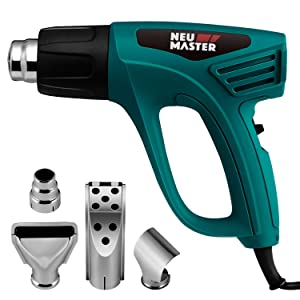 Heat Gun Dual Temperature Settings, NEU MASTER N2190 1500W Hot Air Gun 800°F - 1112°F, Overload Protection with 4 Nozzle Attachments for Shrink Wrapping/Tubing, Paint Removal