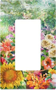 Single Gang Rocker Switch Plate - Flowers Painting Receptacle Outlet Wall Plate Decorator Wallplate Cover 2.9