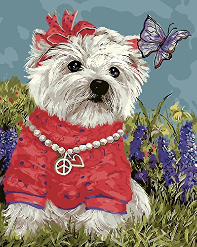 Prime Leader Frameless Diy Oil Painting, Paint by Number Kit 16x20 inch Dog and butterfly