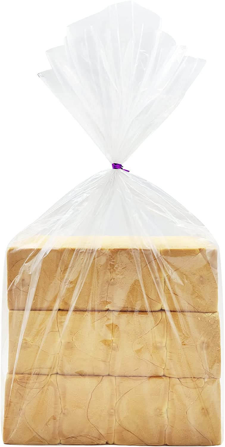 Belinlen 200 Pack 18 x 24 Inch Bread Loaf Bags Clear Plastic Flat Poly Bags for Food, Bread, Dough, Clothes Packaging, Storage, Gift Bag(1 Mil)