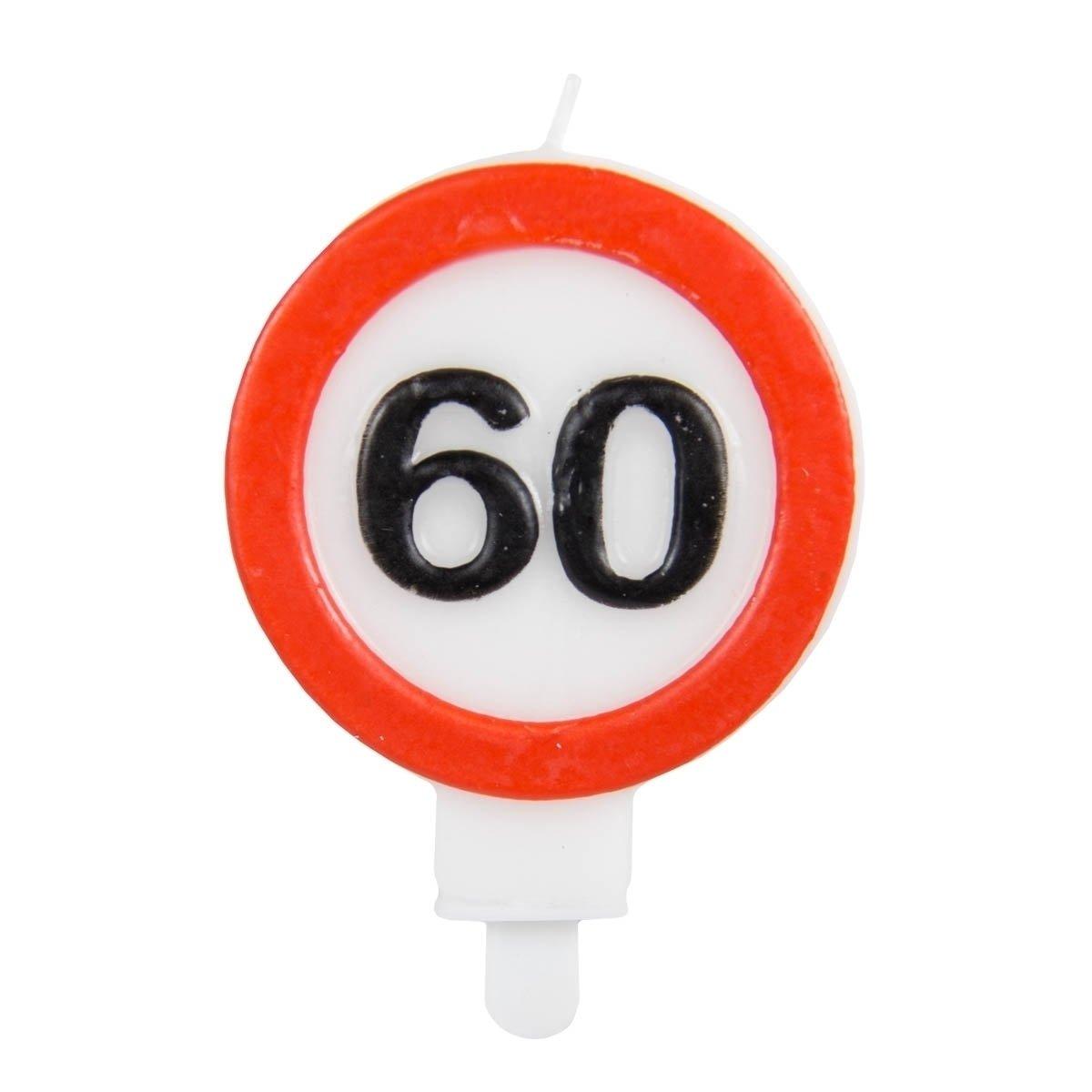 Verkehrsschild Zahl 60 Folat Zahlenkerze //// Verkehrszeichen Geburtstagsk