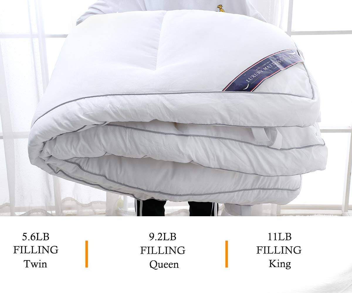 QUEEN ROSE Full Down Alternative Mattress Topper/Feather Bed, Hypoallergenic Down Fiber Mattress Pad for Back Pain,Queen Size,3'' H