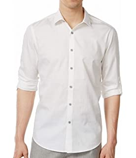 INC Mens Large Roll Tab Sleeve Button Down Shirt
