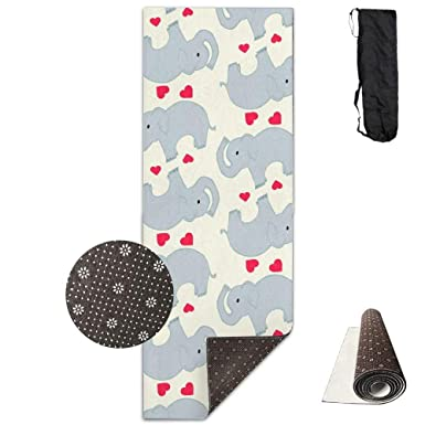 Mats Exercise & Fitness Non-Slip Fashion-Forward Elephant Printed Yoga Mat Aerobic Exercise Mat Pilates Mat Baby Crawling Mat with Carrying Bag Great for Man/Women/Baby