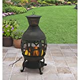 Durable Cast Iron Construction Big size Fireplace Chiminea, Antique Bronze