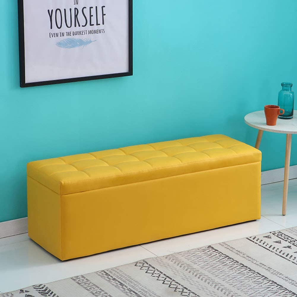 Faux Leather Storage Ottoman Bench, Tufted Storage Bench Footrest Hallway  Bedroom Storage Chest Coffee Table with Sponge Filling Padded Seat-Yellow