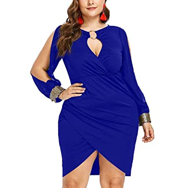 0f5e7751f5f Plus Size Dresses for Women Fashion Sequin Plus Size Keyhole Neck Ring Slit  Bodycon Dress ODGear