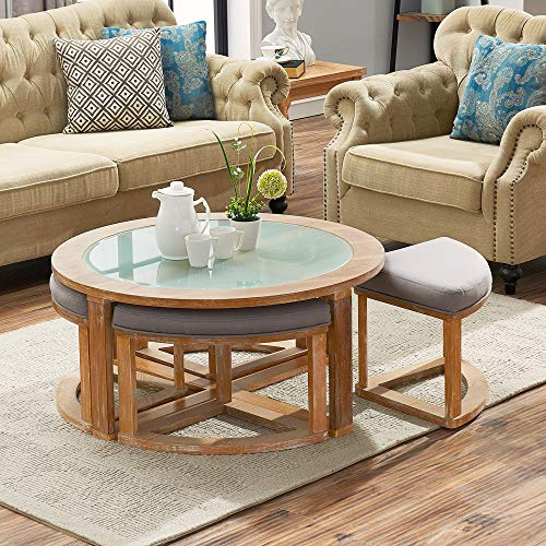 O&K Furniture Round Coffee Table with 4 Nesting Stools, Cocktail Height Coffee Table with Frosted Glass, 5-Pieces Set- Natural