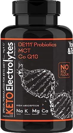 120 MCT Keto Electrolytes Pills | 150 mg Magnesium Probiotics Co Q 10 | Potassium Sodium Chloride Calcium Zinc & D3 Vitamin | Premium Grade Salt Supplement Designed for Low Carbs & Keto Diets