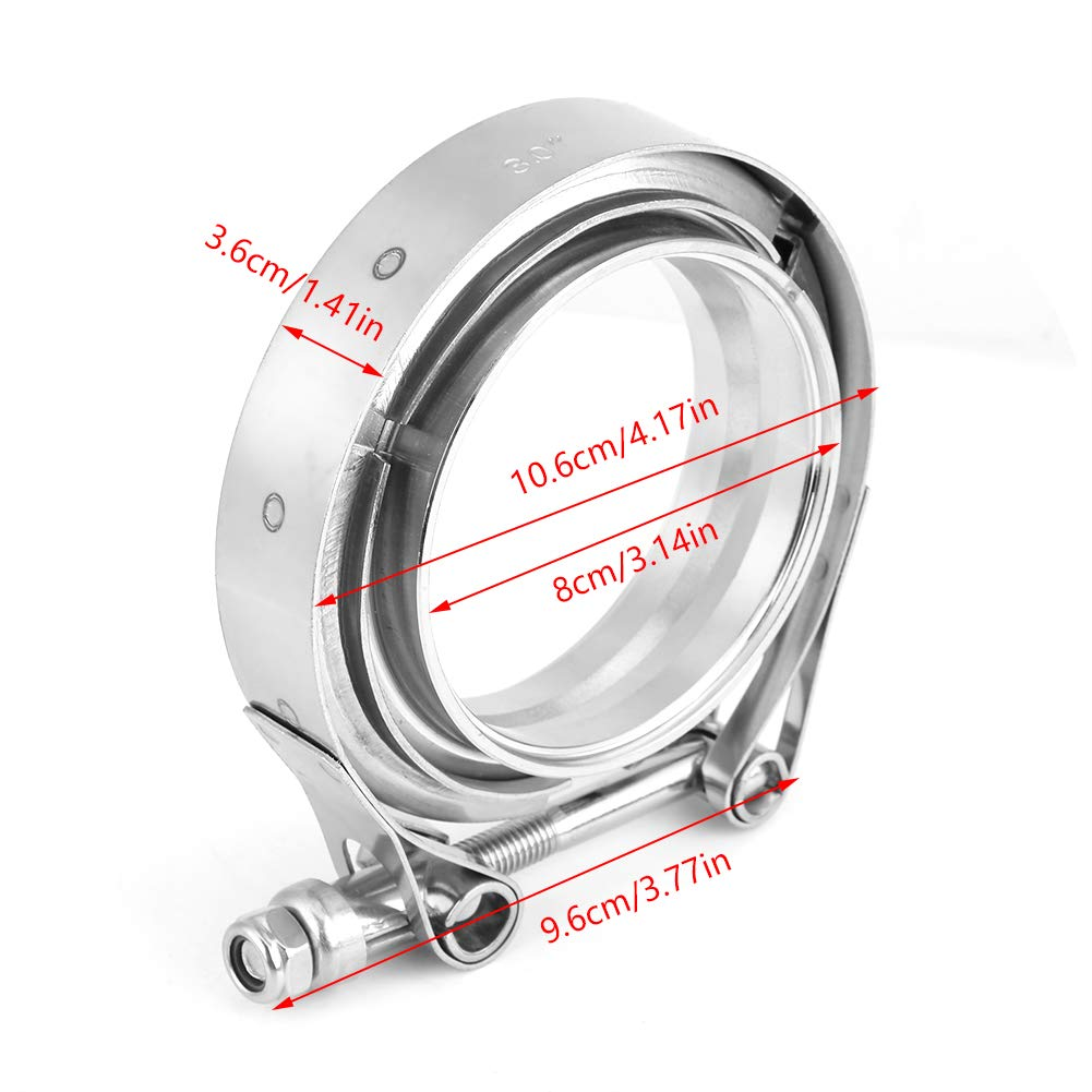2pcs V Band Clamp 3 inch Universal Stainless Steel V-Band Turbo Downpipe Turbo Exhaust Clamp