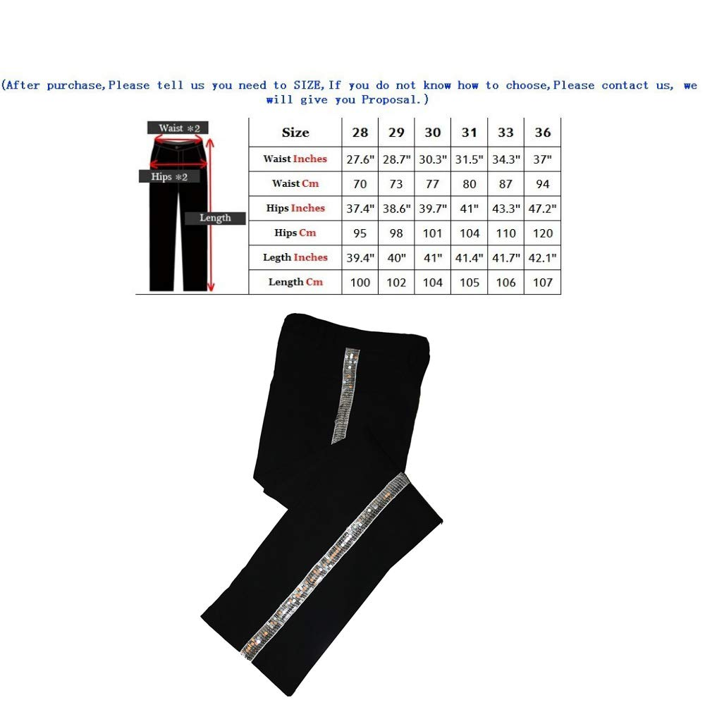 Thriller9 Michael Jackson Billie Jean Pants Classic MJ Straight Silver Sequin Trousers Performance Show Pants Black
