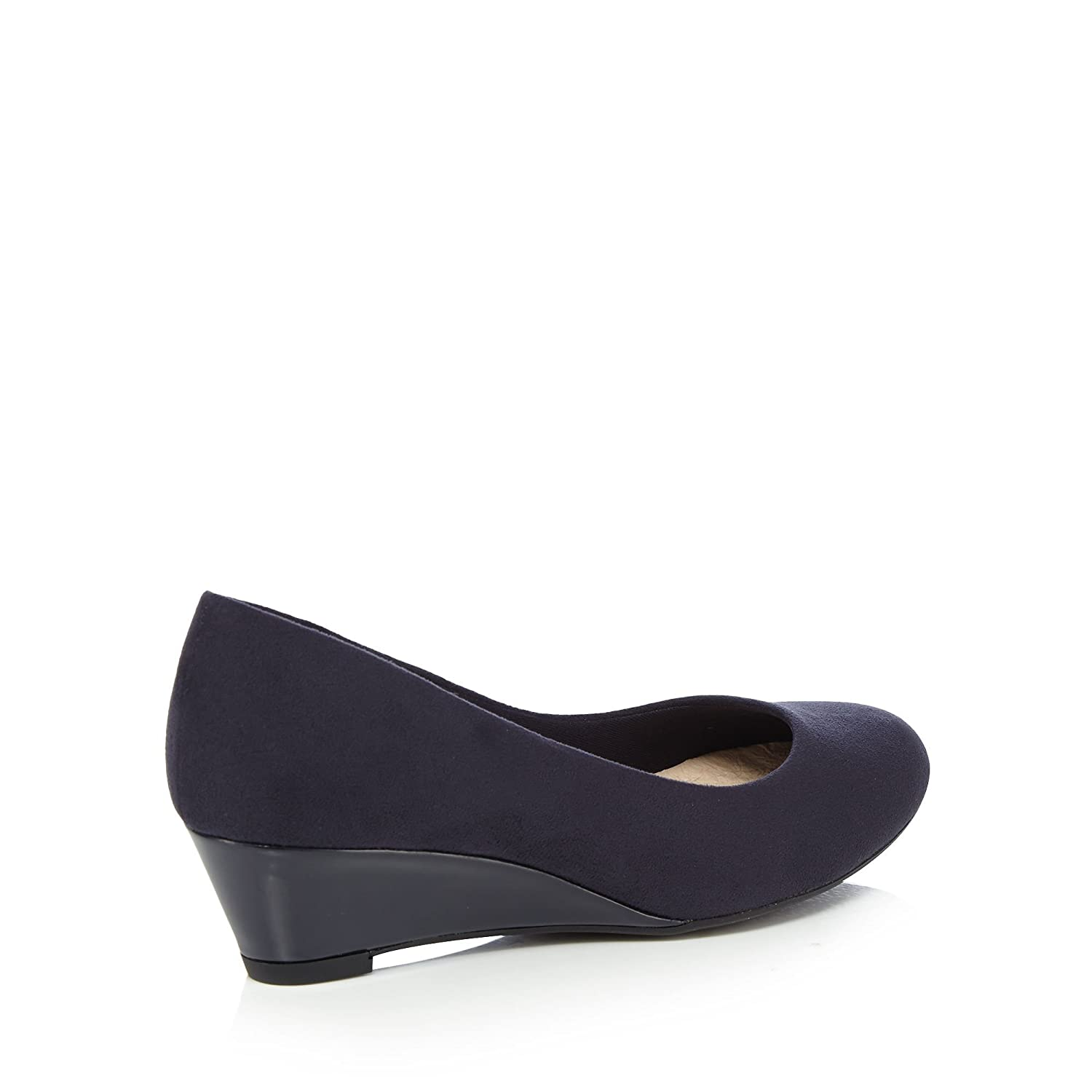 Navy suedette 'Gretchen' mid wedge heel wide fit court shoes outlet pay with paypal footaction online SChYWzzmaV