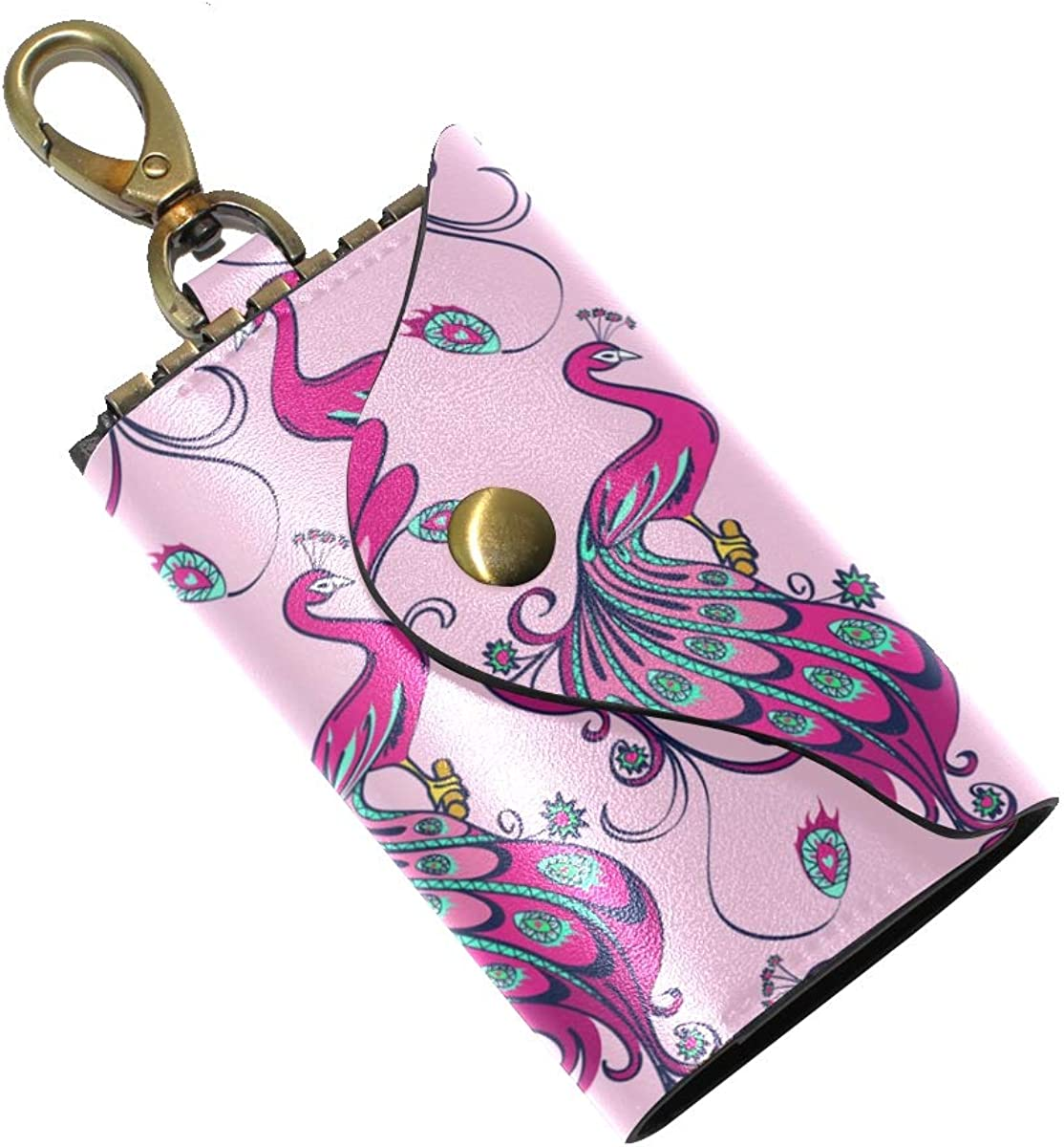 KEAKIA Purple Peacocks Leather Key Case Wallets Tri-fold Key Holder Keychains with 6 Hooks 2 Slot Snap Closure for Men Women