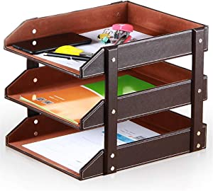 3-Tier Stacking Leather Letter Trays Office Desk Supply Organizer, Files Sorter Workplace Desktop Storage Holder for Document/Paper/Stationery/Magazine/Newspaper (Brown)