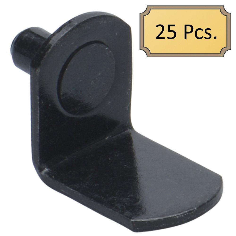 5mm Bracket Style Cabinet Shelf Support Pegs - Black - Package of 25
