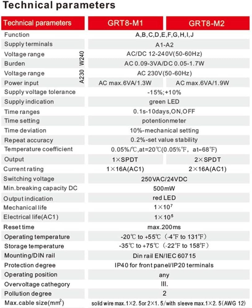 Nrpfell Rel/é Temporizador Multifunci/óN GRT8-M2 16A con 10 Opciones de Funci/óN Rel/é de Tiempo ACDC12-240V