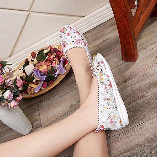 ESAILQ Calzado Pisos Elegante Zapatos Plano De Proteccion Para Fiesta Mujer Plateado