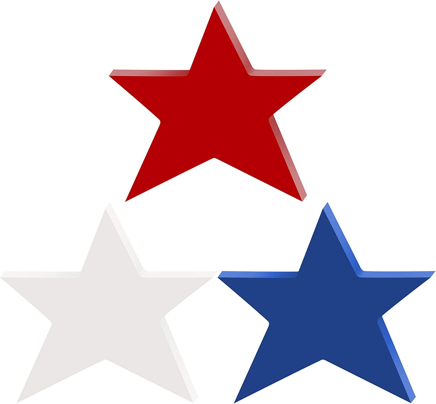3 Pieces Patriotic Wooden Stars Independence Day Tiered Tray Decor for Home Table Desk 4th of July Memorial Day Decorations