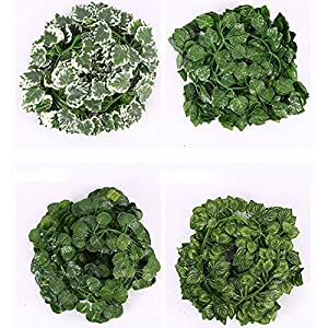 maxgoods 20 Pack Artificial Hanging Plants Vine,Grape Watermelon Raisins Leaves Begonia Leaf Garland Fake Plants Flowers for kitchen Wedding Party Garden Walls Outdoor 104