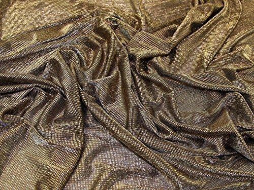 Lurex Foil Print Stretch Jersey Knit Mesh Dress Fabric Gold - per metre Foil Mesh Dress