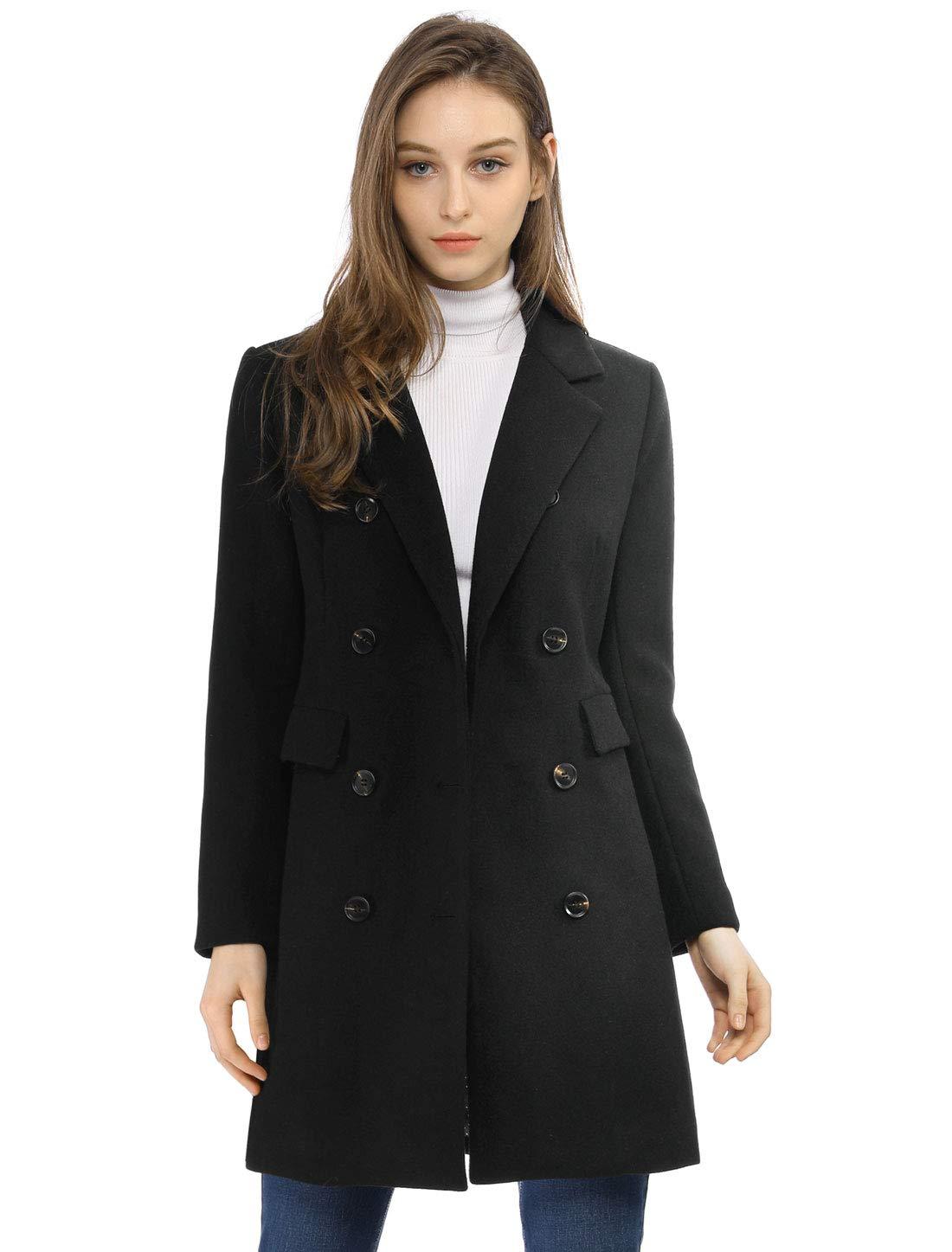 Allegra K Women's Long Jacket Notched Lapel Double Breasted Trench Coat L Blacks by Allegra K