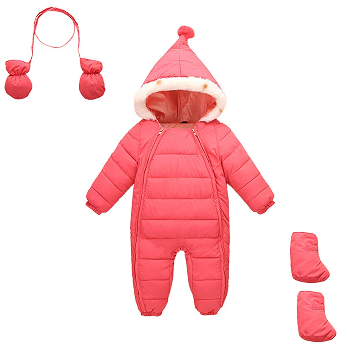 Baby Girls 3 Piece with Gloves and Socks Snowsuit Pink Winter Jumsuit Mumuzhu